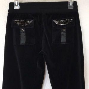 BCBG Black Velvet Rhinestone Lounge Sweatpants S
